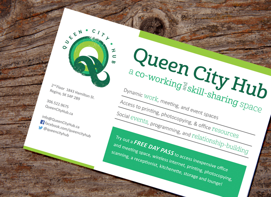 Queen City Hub postcard design